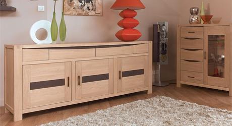 Table chaise salle manger meuble bois massif for Meuble salon en bois