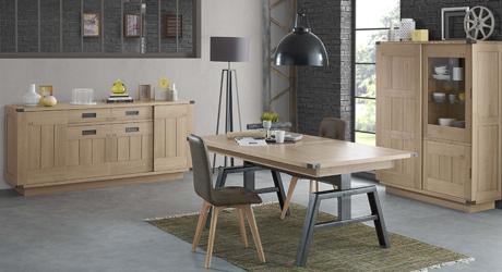 Table chaise salle manger meuble bois massif for Table salle a manger design mobilier de france